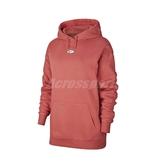 Nike 長袖T恤 NSW Swoosh Hoodie 粉紅 白 女款 帽T 運動休閒 【PUMP306】 CJ6334-897