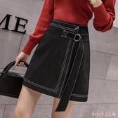 中式半身裙女2020春季新款冷淡風A字裙有內襯高腰不規則包臀短裙 LF4361