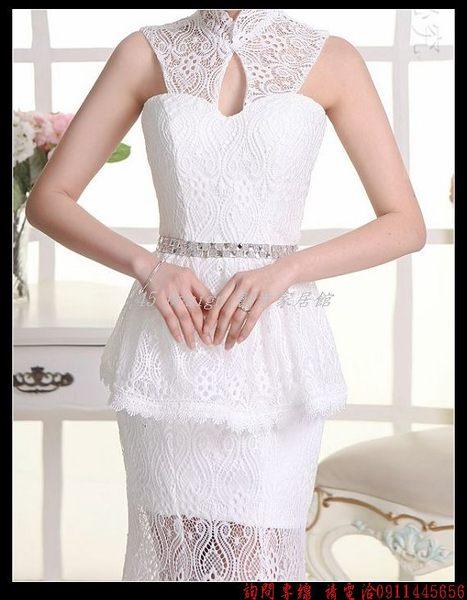 (45 Design)   7天到貨   新款新娘婚紗禮服收腰魚尾時尚甜心領性感蕾絲水鑽腰帶立領