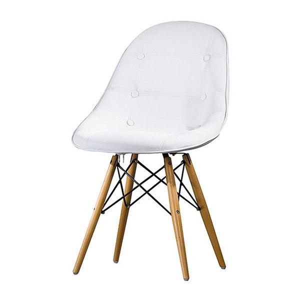 【森可家居】喬伊絲白色皮造型椅 8HY457-08