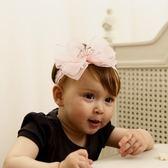 UNICO 兒童粉色超大蝴蝶結皇冠蕾絲髮帶