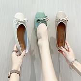 淺口平底單鞋女仙女風豆豆鞋一腳蹬軟底奶奶鞋女春季【慢客生活】