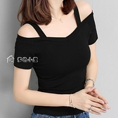 露肩短袖T恤女夏季韓版黑色l露肩吊帶短袖T恤女一字領露肩性感上衣潮 快速出貨