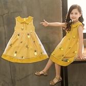 女童洋裝 碎花連身裙2021夏裝新款洋氣女孩無袖韓版網紗裙寶寶兒童公主裙子 百分百
