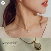 項鍊 Space Picnic|正韓-復古貝殼寶石項鍊(現+預)【K20035012】