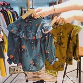 女童長袖襯衫-年秋季女童多層荷葉邊飛飛袖寶寶風復古碎花木耳邊立領襯衫 多麗絲