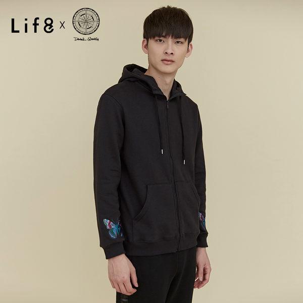 Life8 x Daniel Wong。經典繡花刷毛連帽外套-MIT-黑色【03645】