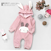 寶寶 兔耳連帽粉色保暖包屁衣 內刷毛 不倒絨 粉色 連身衣 兔裝 包屁 長袖 嬰兒 哎北比童裝