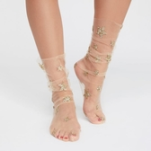 8折免運 網紗燙金星星薄紗襪刺繡襪透視網紗堆堆襪女
