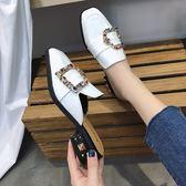 女百搭韓版中跟涼拖時尚外穿懶人無后跟粗跟包頭半拖鞋【蘇迪蔓】