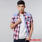 BOBSON 男款配布格子襯衫(25002-13)