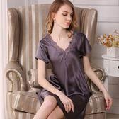 睡衣(裙裝)-真絲短袖性感優雅開岔迷人女居家服4色73nq44[時尚巴黎]