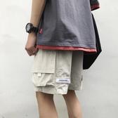 夏季韓版立體口袋工裝短褲男士港風潮流魔術貼運動寬鬆直筒五分褲