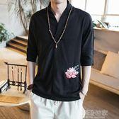 亞麻t恤男士短袖v領2018新款體恤古風男裝中國風寬鬆夏裝個性漢服『潮流世家』