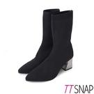 中筒靴-TTSNAP素面顯瘦典雅高跟襪靴 黑