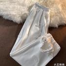 美式高街寬管褲子女夏季ins寬鬆原宿風衛褲潮薄款垂感直筒束腳褲 小艾新品