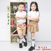 男童白襯衫短袖純棉休閑藍色白色校服兒童白襯衣【齊心88】