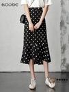 魚尾半身裙 黑色波點半身裙女雪紡長裙2021新款高腰包臀裙中長款小碎花魚尾裙