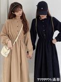 長袖洋裝 冬裝法式復古裙子冬季年氣質收腰顯瘦溫柔風連身裙女秋冬 晶彩生活