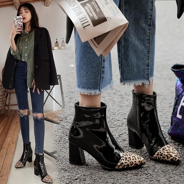 大尺碼女鞋  2019新款歐美時尚帥氣漆皮拼色尖頭高跟短靴~3色