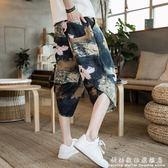 七分褲寬管褲男寬鬆夏季沙灘休閒褲中國風褲子短褲潮流印花哈倫褲 科炫數位