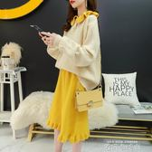 小清新毛衣裙子兩件套秋季洋氣矮個子時尚網紅小香風針織套裝初秋 依凡卡時尚
