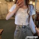 2021年新款白色T恤女夏裝設計感小眾短袖網紅爆款ins短款露臍上衣 時尚芭莎