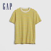 Gap男裝 棉質舒適圓領短袖T恤 532552-黃色條紋