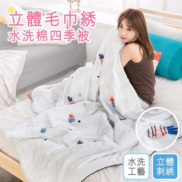 涼被 韓版立體毛巾繡 舒柔棉四季被 空調被【波蘿白】(150X200cm) 雙人可用