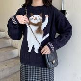 出清388 韓國學院風貓咪立體圍脖針織毛衣長袖上衣