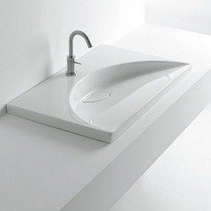 【麗室衛浴】義大利原裝 WHITE STONE   FLAT 76X51方型造型盆(現貨供應)