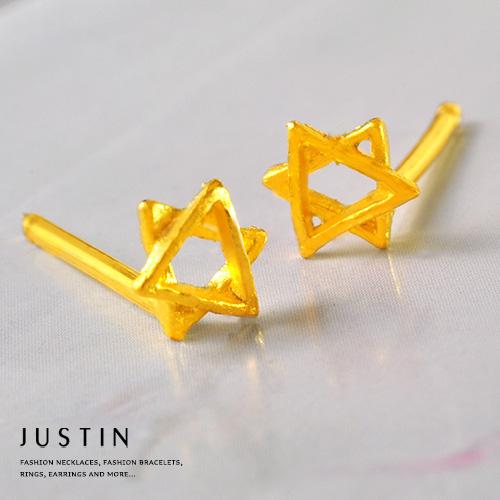 Justin金緻品 黃金耳環 星星守護 9999純金耳環 金飾 宇宙 星型 送禮推薦 六芒星