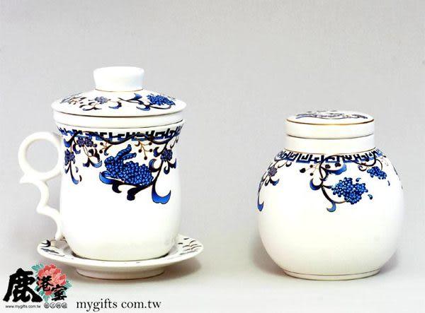 【鹿港窯】描金鹽水燒陶瓷4件馬克杯+茶葉罐組(紫籐花卉)定窯白瓷