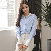 秋裝款韓版女裝職業裝氣質百搭簡約條紋直筒長袖襯衫女708PF5F-515快時尚