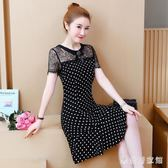 短袖洋裝 胖MM波點魚尾裙大碼法式復古顯瘦減齡女裝蕾絲連身裙 EY6358『樂愛居家館』