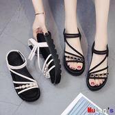 楔形涼鞋 涼鞋 厚底 增高 松糕 坡跟 綁帶 平底鞋