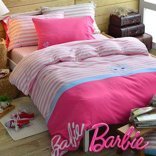【Barbie】針織棉刺繡加大雙人床包被套四件組《Cutie Cat俏麗貓》