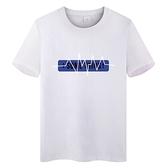 白L 現貨速達 情侶裝 潮T 純棉短袖T恤 MIT台灣製【YC651】短袖 心跳藍長框 團體服