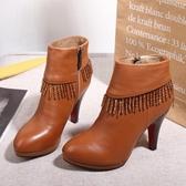 短靴秋冬季流蘇靴子高跟鞋真皮側拉鏈單靴細跟短筒馬丁靴裸靴 KV5315
