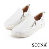 SCONA 全真皮 極簡雙拉鍊厚底懶人鞋 白色 7240-2