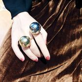 歐美風個性時髦大顆金屬球戒指圓球開口指環夸張創意食指戒子裝飾 IV3162 【大尺码女王】