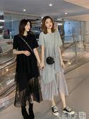 春夏裝很仙的法國小眾連身裙女韓版寬鬆短袖拼接網紗不規則蛋糕裙      橙子精品