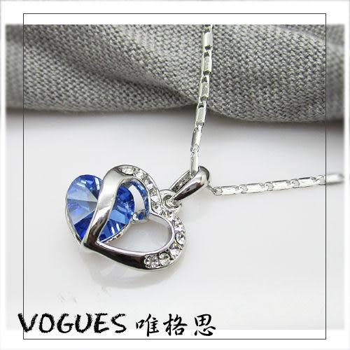 心心相印鑲鑽鋯石項鍊 (共6色)  情人節禮物【Vogues唯格思】A003