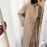 大衣 簡約 兩粒釦 翻領 廓型 毛呢 不收邊 長大衣 外套 M、L碼【MYY030】 ENTER