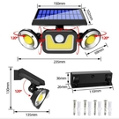 太陽能戶外燈 太陽能壁燈 LED三頭可旋轉戶外防水人體感應庭院路燈太陽能燈 【快速出貨】igo