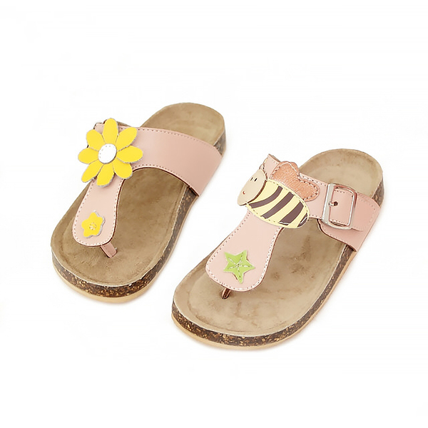 【Jingle】小蜜蜂採花蜜T字軟木涼鞋(甜美粉兒童款)