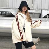 女裝寬鬆復古長袖學生夾克中長款風衣休閒外套學生潮
