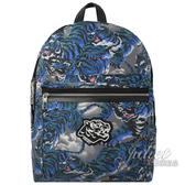 茱麗葉精品【全新現貨】 KENZO 經典虎頭徽章渲染帆布後背包.藍/灰 大款