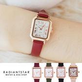 正韓LAVENDA時光琥珀小錶面復古方形羅馬字真皮手錶【WLA336】璀璨之星☆