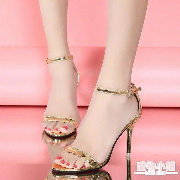 夏季高跟鞋細跟涼鞋性感黑色露趾簡約女鞋金色高跟一字扣涼鞋女夏